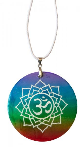 Halskette Lotus Om Muschel Airbrush rainbow 5cm