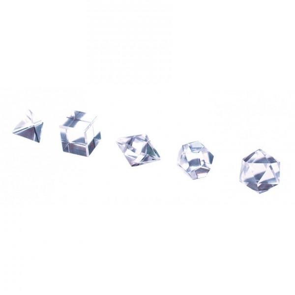 Platonische Körper 5er Set Bergkristall
