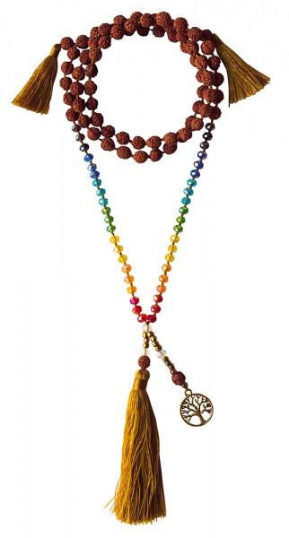 Mala Chakra Baum des Lebens Rudraksha/Glassperlen mit Messinganhänger 52cm