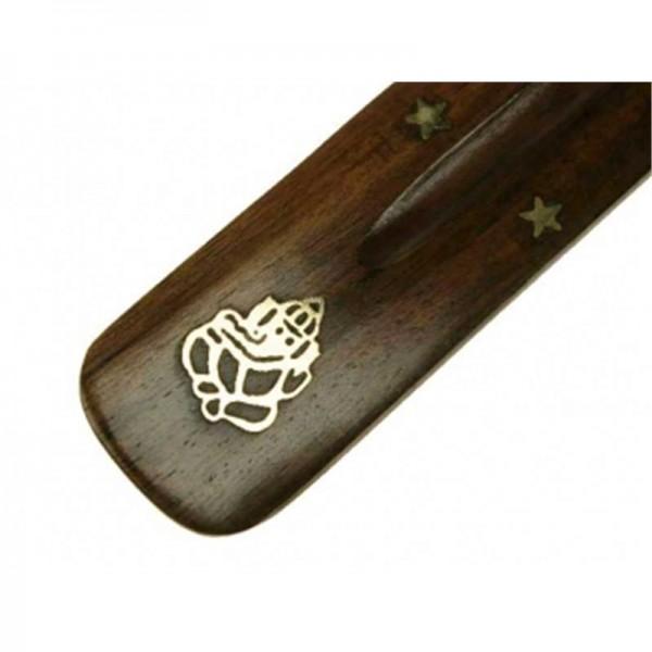Räucherstäbchenhalter aus Holz mit Ganesha-Motiv