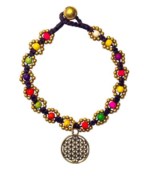 Armband Flower mit Blume des Lebens bunt, Messing Perlen, 20cm