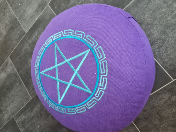Meditationskissen Pentagramm hellblau/violett