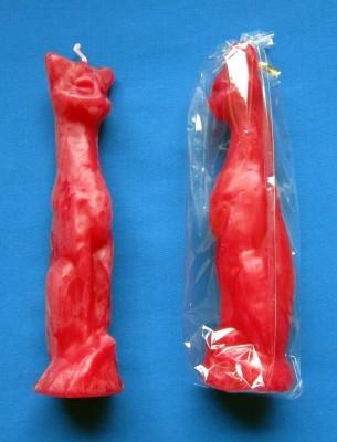 Figurenkerzen für magische Zwecke - Katze rot