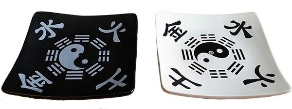 Räucherstäbchen-/Räucherkegelhalter Yin Yang und Jin Shui Tu und Hao