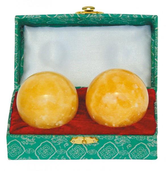 Qi Gong Kugeln Orangecalcit 50 mm