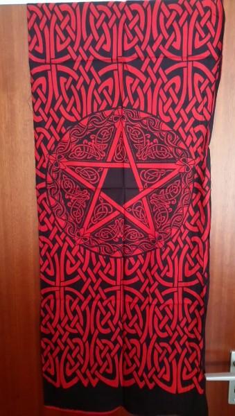 Tuch mit keltischen Mustern u. Pentagramm rot-schwarz 53x127cm