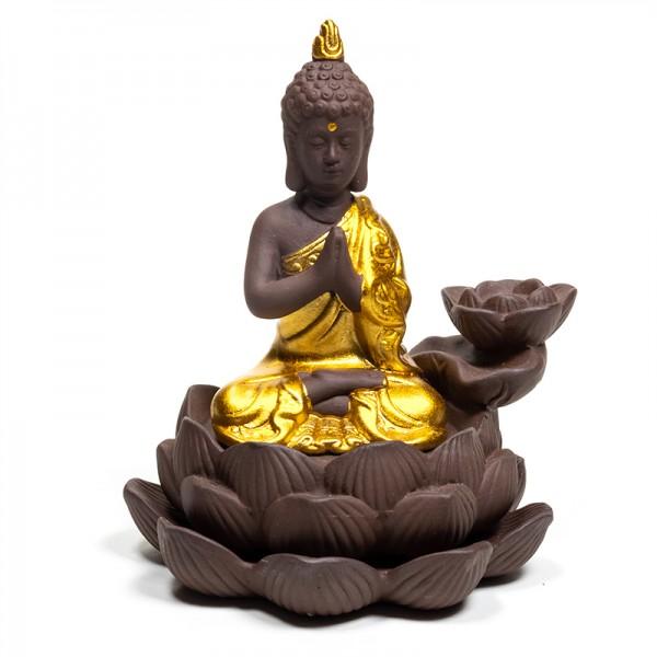 Rückfluss Wasserfall Weihrauchbrenner Buddha oder Lotus