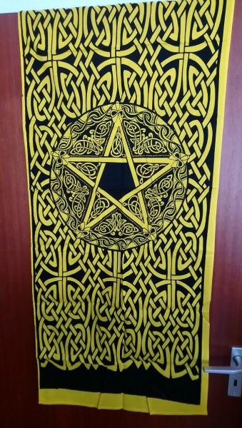 Tuch mit keltischen Mustern u. Pentagramm gelb-schwarz 53x127cm