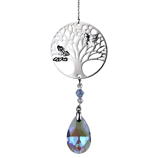Baum des Lebens mit Regenbogen-Kristalltropfen violett