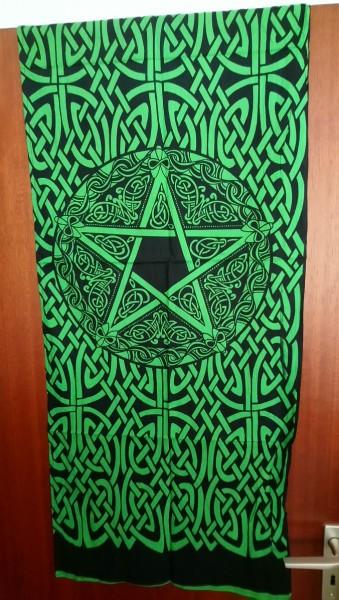 Tuch mit keltischen Mustern u. Pentagramm grün-schwarz 53x127cm