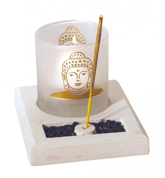 Teelicht-Räucherstäbchenhalter Buddha Glas-Stein