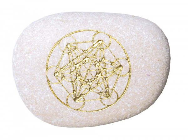 Flußstein Metatrons Würfel weiß/gold 9cm