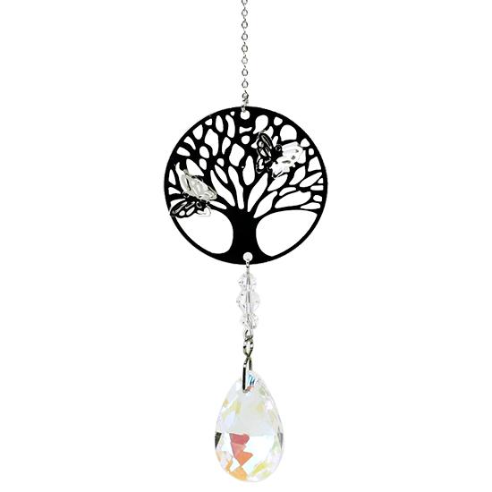 Baum des Lebens mit Regenbogen-Kristalltropfen weiß