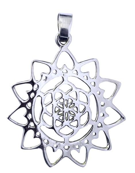 Anhänger Blume des Lebens mit Lotus Messing versilbert 3,0cm, 2,8g